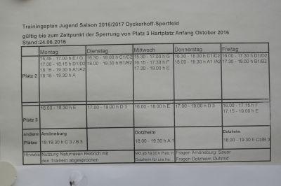 Trainingsplan 2015/16